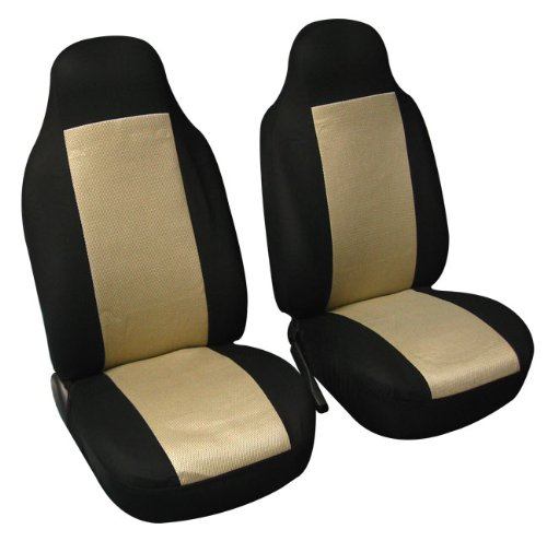 FH Group FB102BEIGE102 Beige Classic Cloth 3D Air Mesh Front Bucket Auto Seat Cover, Set of 2