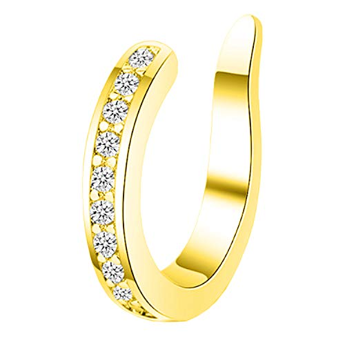 Ditz Damen Ohrklemme 925 Silber mit Zirkonia Strass Stein Ear Cuff Ohr Hoop Helix Nase Lippe Klemmring Ohrring Fake Piercing Ring Clip On Gold