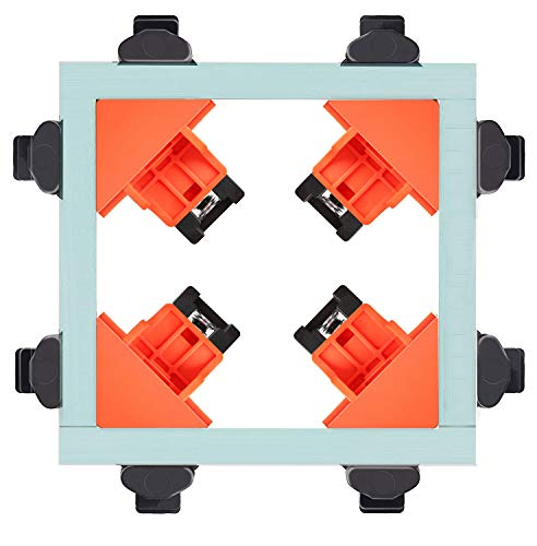 Angle Clamps, 4 Pcs Plastic 90° Corner Clamp Multi-function Adjustable for Welding, Wood-working, Photo Framing Fixing Clip Hand Tool (Orange)