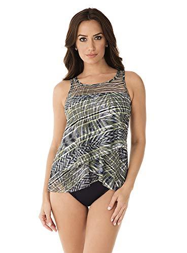 Miraclesuit Women's Swimwear Monteverde Mirage Scoop Neck Underwire Bra Asymmetrical Tankini Bathing Suit Top, Olivetta, 16