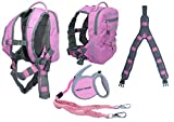 MDXONE Kids Snowboard Ski Harness Trainer with Retractable Leash and Absorb bungees, Winter 20-21 (Pink)