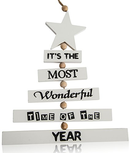 CHICCIE Sapin de Noël avec Inscription à Suspendre Blanc 37 cm