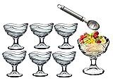 Set de 6 copas d helado de cristal con cucharilla de metal