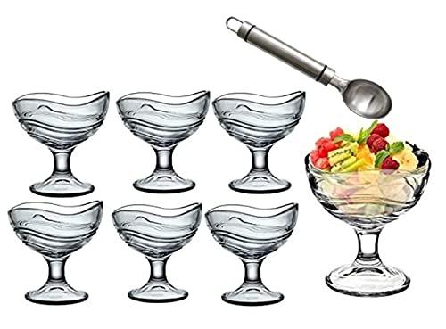 Lot de 6 verres à glace en verre avec cuillère en métal