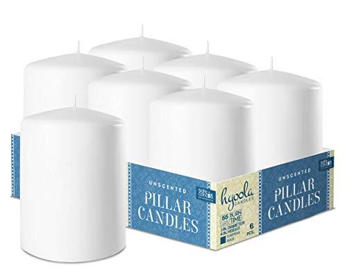 Hyoola Weiß Stumpenkerzen 76 X 101 mm - 6 Pack - 55 Stunden Brenndauer - Unparfümiert Groß Stumpen Kerzen