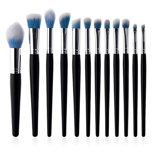 Our Peaches 12-tlg. Makeup Pinsel Makeup Tools Set Schwarz Bing Silber Tube Flammenpinsel Lidschattenpinsel Poliert, Gepunktet, Concealer - Kompakte Synthetikborsten (Color : Blue)