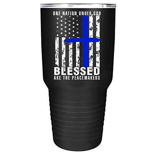 Blessed are the Peace Makers Cross Flag on Black 30 oz Stainless Steel Police Tumbler