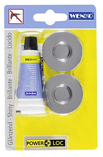WENKO Power-Loc® Adapter Premium/Classic - Befestigen ohne bohren, Kunststoff, 4 x 1.5 x 4 cm, Chrom