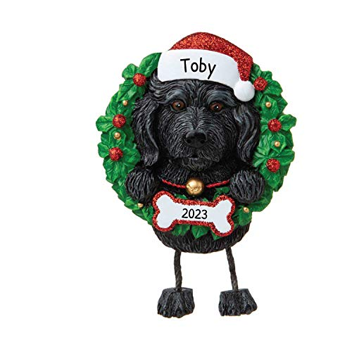 Personalized Labradoodle Pure Breed Christmas Tree Ornament 2020 - Fluffy Black Dog Dangle Paw Santa Hat Fur-Ever New Love Intelligent Energy Play Family Social R.i.p. - Free Customization
