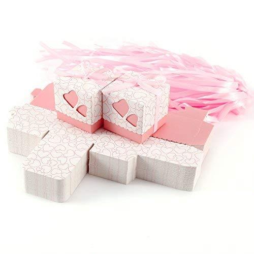 Surepromise 100 Stück Geschenkschachtel Schmuck Klein Geschenkbox Gastgeschenke Schachtel 5x5x5cm mit Rosa Herzen und Band für Hochzeit Geburtstag Party Taufe