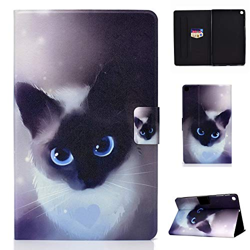 Lspcase Galaxy Tab A 10.1 pulgadas 2019 Funda de piel sintética Flip Case Cover Magnética Soporte Funda Tablet Funda Funda con Tarjetero para Samsung Galaxy Tab A 10.1 SM-T510 / SM-T515 Gato Negro
