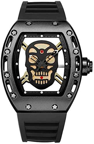 ZFAYFMA Correa de silicona clásica de cuarzo, reloj formal de negocios para hombre con esfera de calavera, el mejor regalo para mujeres negro