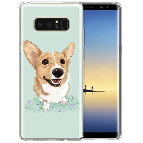 Samsung Galaxy Note 8 Phone Case Corgi Dog Clear Pattern Scratch-Resistant bsorption Flexible Protective Samsung Galaxy Note 8 Case