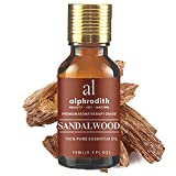Indian Sandalwood Essential Oil for Skin Care 100% Pure Undiluted Uplift Mood & Focus Scented Oils - 10ml for Diffuser, Hair, Aromatherapy, Bath, Massage, Relax & Perfume