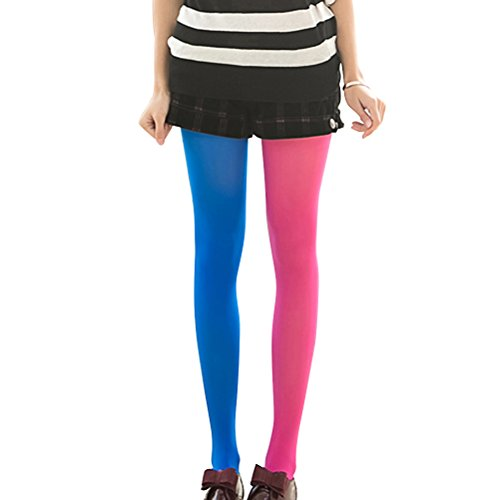 LUOEM Strumpfhosen mehrfarbig Damen Mode Splice Kniestrümpfe Party Kostüm Strümpfe (Rose Rot und Blau)