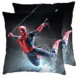 Fundas de almohada para cama Super Hero Spider-Man lucha funda de almohada, almohada cuadrada, funda de almohada estándar 45,7 x 45,7 cm, 2 piezas