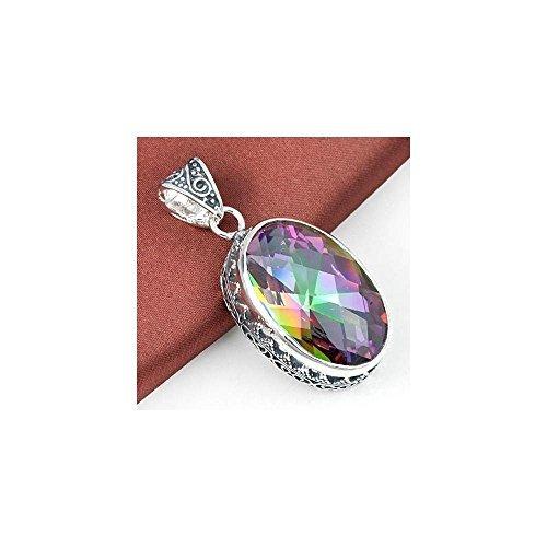 AKDSteel - Colgante de Plata Maciza con Piedra de topacio místico Arco Iris Natural