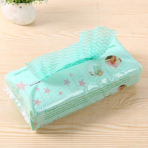 A good helper for family life, creating a perfect Kitchen Environmental One-off Removable Non-woven Cloth No-wash Duster Cloth(Pink),80 pieces For package, single size: 21*19cm ( Color : Green )