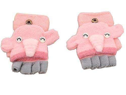 Pormow Pormow Herbst und Winter 1-3 Jahre alt Cartoon Warm Handschuhe Kind Half Finger Gestrickt Handschuhe (Little Elephant-Pink)