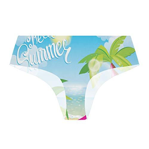 FICOO Women Seamless Underwear Hawaii Beach with Hammock Panties Briefs Soft Stretch Low Rise...