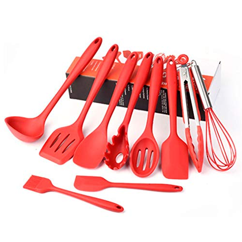 HOUJIA Silicone Cooking Utensils,10 Piece Cooking Kitchen Utensils,silicone Utensil Premium Silicone Kitchen Utensils Set For Cooking & Baking,Spatula,Whisk,Tongs,Heat Resistant,Non-Stick