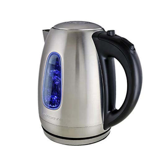 Ovente Portable Electric Hot Water Kettle 1.7 Liter Stainless Steel 1100 Watt Power Fast Heating Element Countertop Tea Maker Boiler Heater with Automatic Shut-Off & Boil Dry Protection Silver KS96S