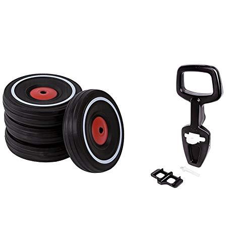 Big - Bobby Car Whisper Wheels - Flüsterräder für Rutscher Autos, Reifen-Set mit Befestigungsclips & Bobby Car Walker - 2-in-1 Lauflernhilfe und Rückenlehne in Einem, mit integriertem Kippschutz