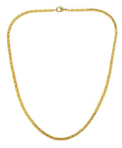 Feine Königskette 18kt vergoldet 2,4 mm Länge 60 cm, Halskette Goldkette Herren-Kette Damen Geschenk Schmuck ab Fabrik Italien tendenze BZG2,4-60