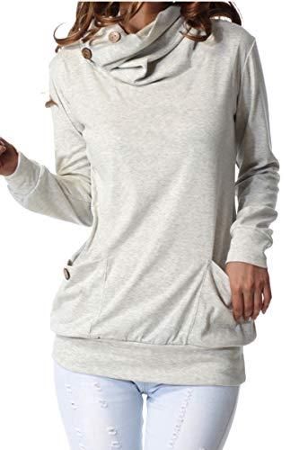 Levaca Women Petite Fall Long Sleeve Casual Pullover Tunic Top Sweatshirts Gray S