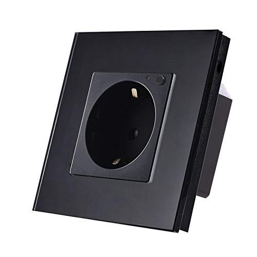 LUX WiFi Smart stopcontact WLAN wandcontactdoos Schuko Alexa voor inbouwdoos zwart glasframe LUX99-12