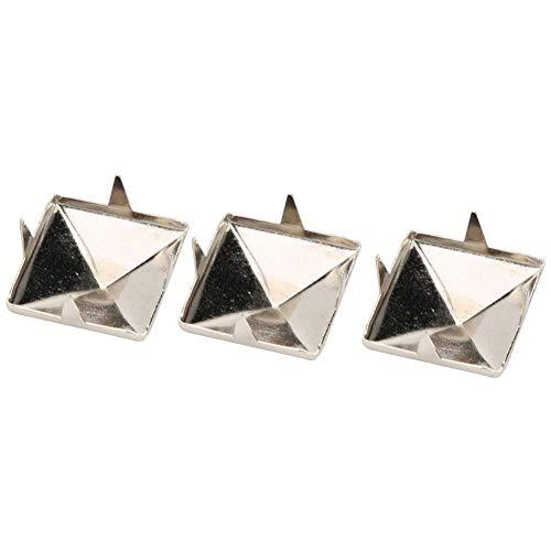 100 pernos cuadrados de 10 mm a 15 mm, con cuatro mandíbulas, para manualidades (15 mm, plata)