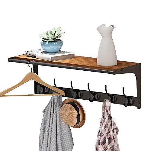 QFFL Wandgarderobe mit Ablage Holz Wandregal mit 6 Metall Doppelhaken wandmontiertes Hängeregal Weiß Modern Vintage kleiderhaken Garderobenhaken für Schlafzimmer Badezimmer Wohnzimmer