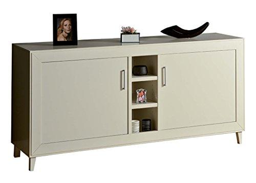 Legno&Design Meuble moderne blanc mat avec deux portes et trois étagères, salon, cuisine