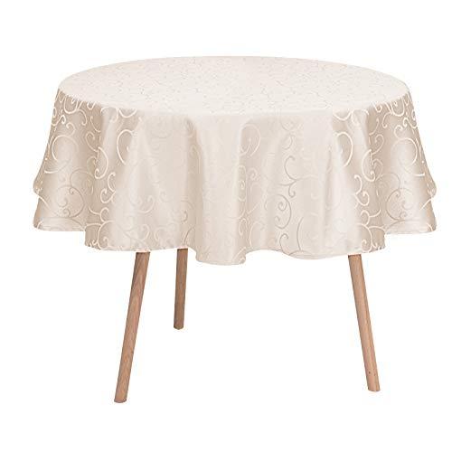 Laneetal Tischdecke Tischtuch Ornamente Damast Seidenglanz Tafeldecke abwaschbar wasserdicht schmutzabweisend Eckig Oval Rund wählbar Campagner Rund 160 cm