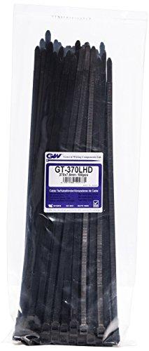 GW Kabelbinder-Technik, Kabelbinder 366 x 7,6 mm, schwarz, 100 Stück, GT-370LHDBC