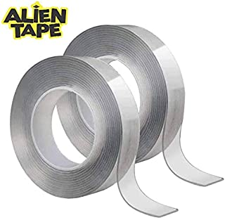 ALIENTAPE Nano Double Sided Tape, Multipurpose Removable Adhesive Transparent Grip Mounting Tape Washable Strong Sticky Heavy Duty for Carpet Photo Frame Poster Decor As Seen On TV (2 Piece Regular)
