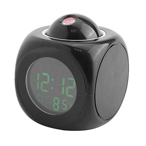 Despertador del proyector del LED pantalla hablar con voz Reloj multifuncional Pantalla de la temperatura de Digitahi Decoración doméstica Negro