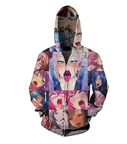 MANSPYF Sudaderas con Capucha Sudadera con Capucha De Color Cómico De Impresión En 3D con Cremallera Casual Suéter De Los Hombres Cosplay Anime