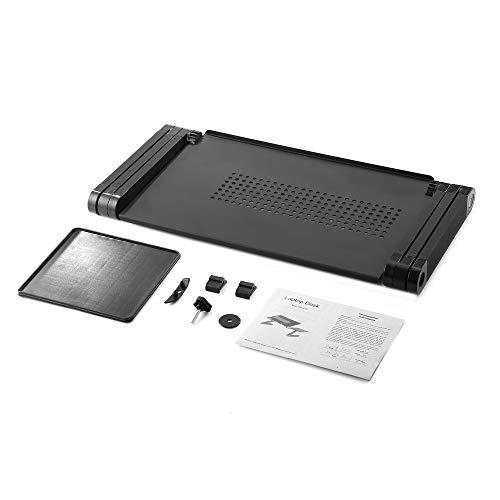 WEQQ Cajón de la Cama portátil del Escritorio de la computadora portátil de la Mesa Ajustable con la Alfombrilla de ratón Negro