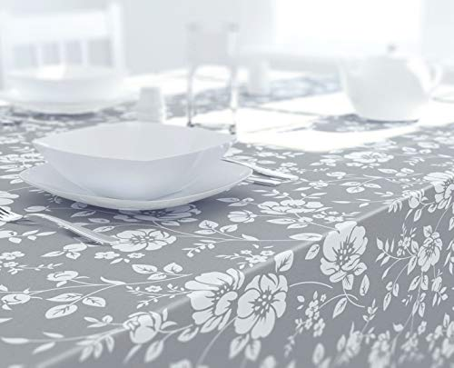 Dehaus GREY Beautiful Wipe Clean PVC TABLECLOTH (Various Sizes) Large 250cm x 140cm, Rectangular Oilcloth Table Cloth Cover (Floral Bloom)