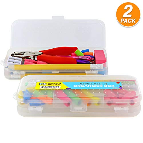 White Double Deck Pencil Box Plastic School Office College Organizer Box Students Pencil Case Stationery (Pack of 2) by - Emraw