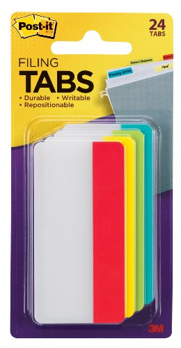 Post-it Tabs, 3 in, Solid, Assorted Primary Colors, 6 Tabs/Color, 4 Colors, 24 Tabs/Pack (686-ALYR3IN)