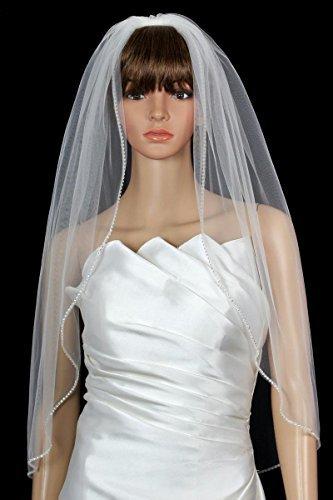 Bridal Wedding Veil Diamond (Off) White 1 Tier Fingertip Length Rhinestone Edge by Velvet Bridal