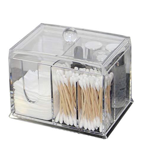 Lurrose organisateur cosmétique transparent multifonctions avec couvercle en coton acrylique et porte-coton-tige
