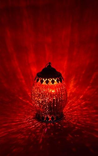 Home&Decorations LED Original Windlicht Gold Antiker Windlichthalter Windlichtglas Laterne Orginal-Glas Laterne mit metalabdeckung Antik Rot Ø 10,5 cm × 18 cm Höhe