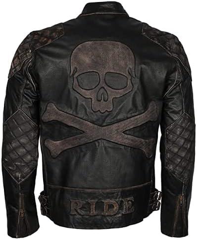 Outfitter Skull & Bones Black Jacket for Men-Real Leather Jacket-Slim Fit-Zipper Closure-Lightweight-Original Jacket