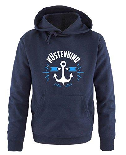 Comedy Shirts - Küstenkind Anker - Herren Hoodie - Navy / Weiss-Blau Gr. L