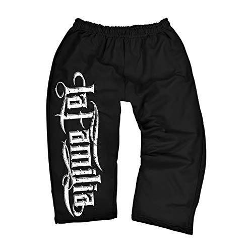 Spaß kostet Männer und Herren 3/4 Dreiviertel Hose La Familia Logo Half Shorts