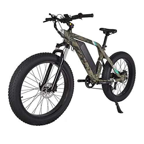 HMEI Bicicleta eléctrica 26' Potente 750W 48V Batería extraíble 7 velocidades Engranajes Fat Tire Bicicletas eléctricas con Pedal Assist para Hombre Mujer (Color : Camouflage)