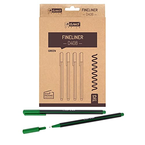 D.RECT D408 Fineliner   für den täglichen Gebrauch geeignet, Schreib und Schulbedarf   hohe Qualität, superfeine, Linienbreite ca. 0.4 mm, 12 Stück, Grün